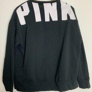 VS PINK Black & White Logo Long Sleeve Sweatshirt